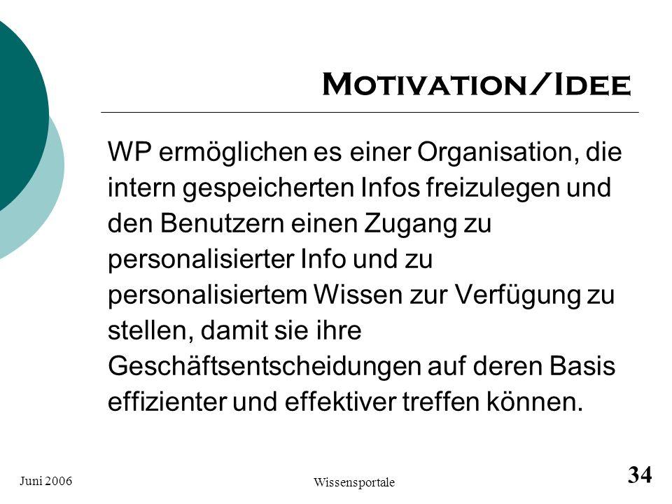 Motivation/Idee WP ermöglichen es einer Organisation, die