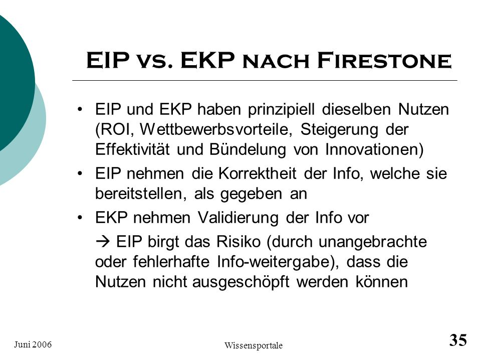 EIP vs. EKP nach Firestone
