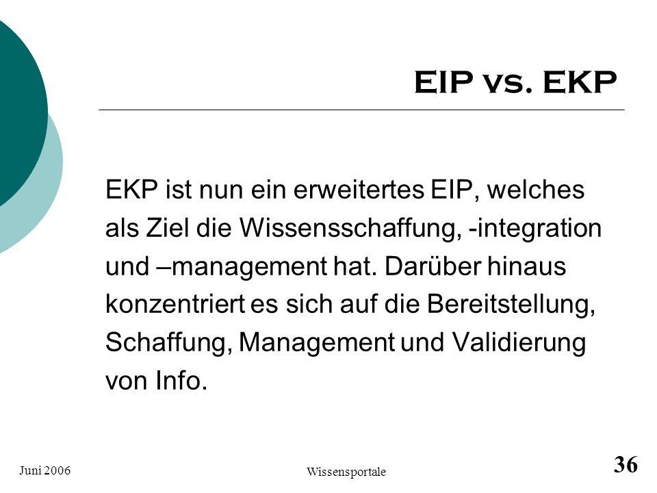EIP vs. EKP EKP ist nun ein erweitertes EIP, welches