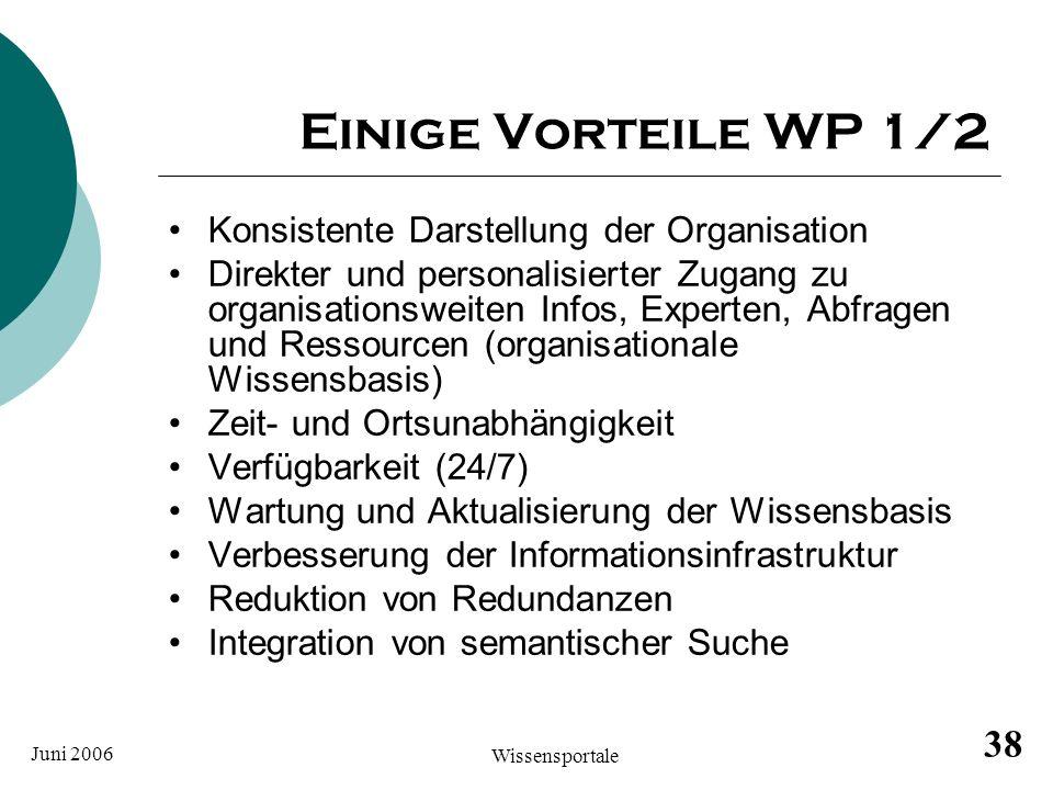 Einige Vorteile WP 1/2 Konsistente Darstellung der Organisation