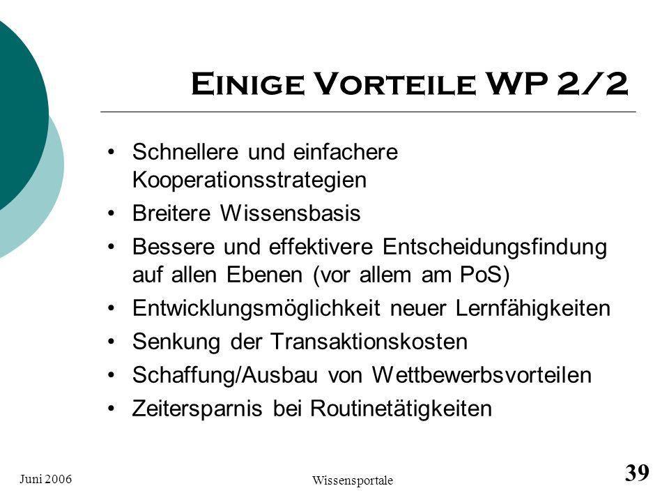Einige Vorteile WP 2/2 Schnellere und einfachere Kooperationsstrategien. Breitere Wissensbasis.