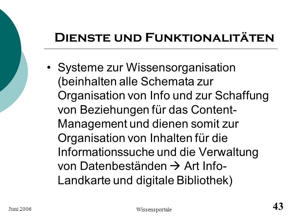 Dienste und Funktionalitäten
