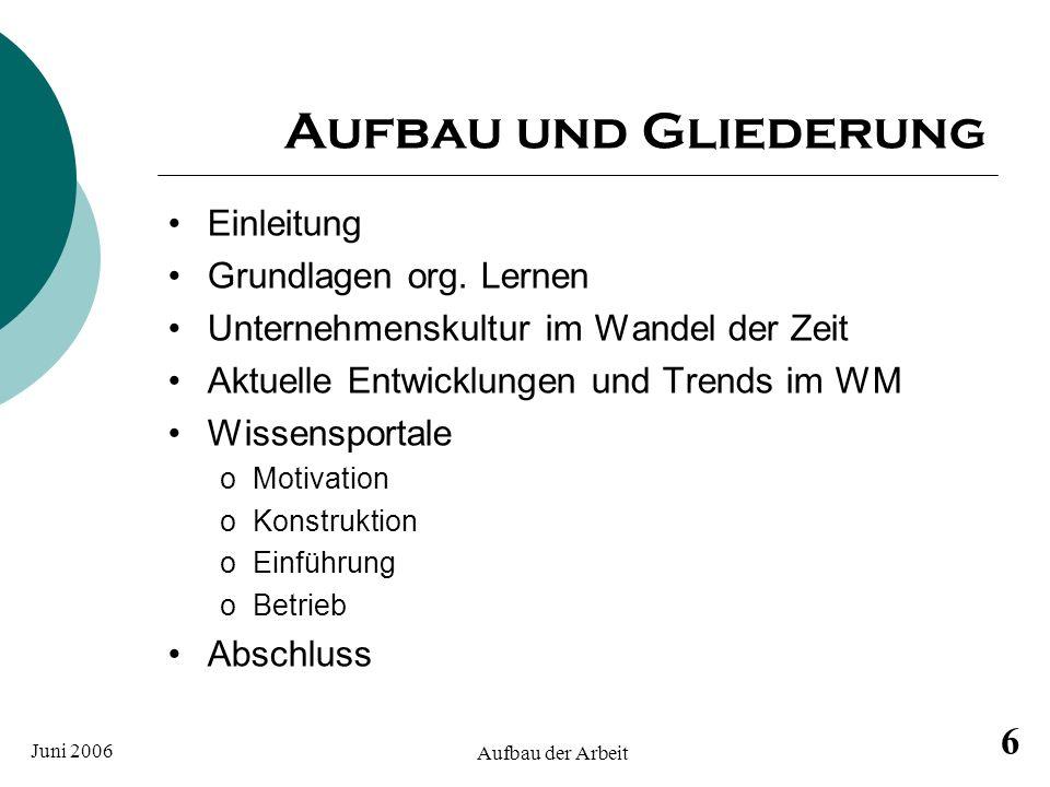Aufbau und Gliederung Einleitung Grundlagen org. Lernen