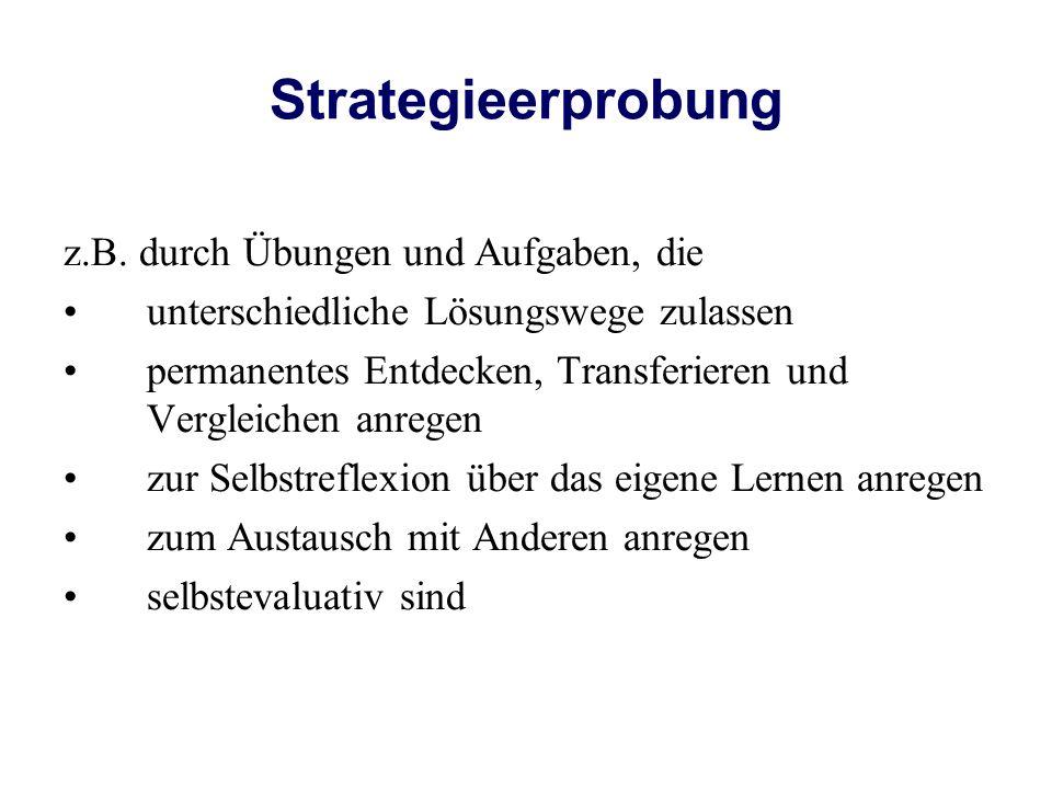 Strategieerprobung z.B. durch Übungen und Aufgaben, die