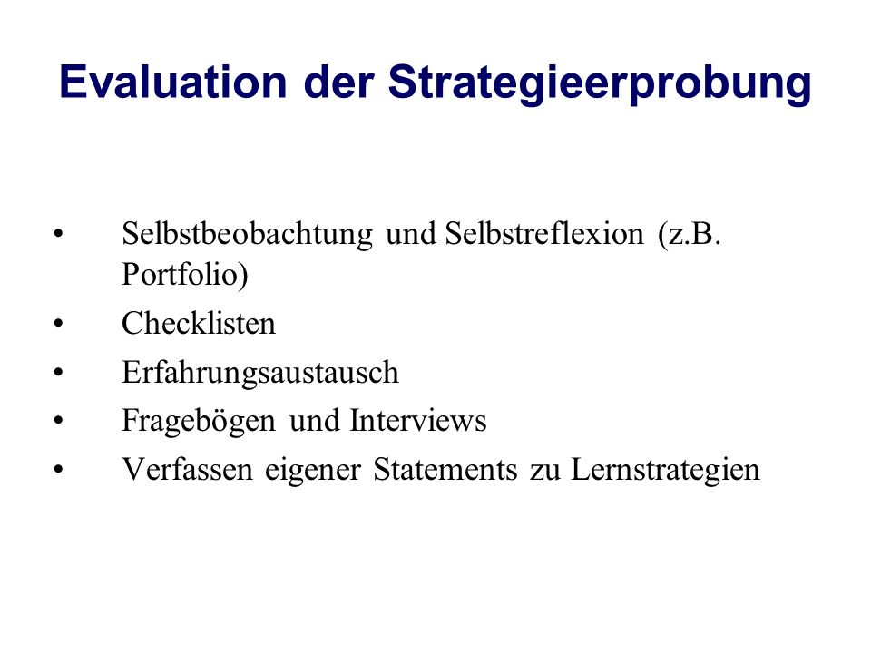 Evaluation der Strategieerprobung