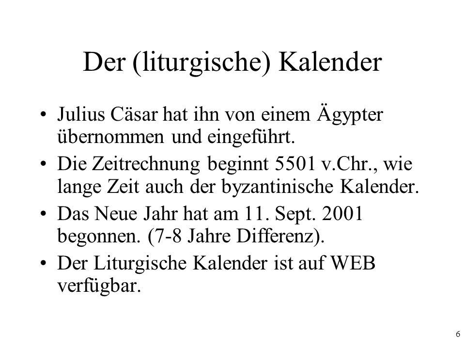Der (liturgische) Kalender