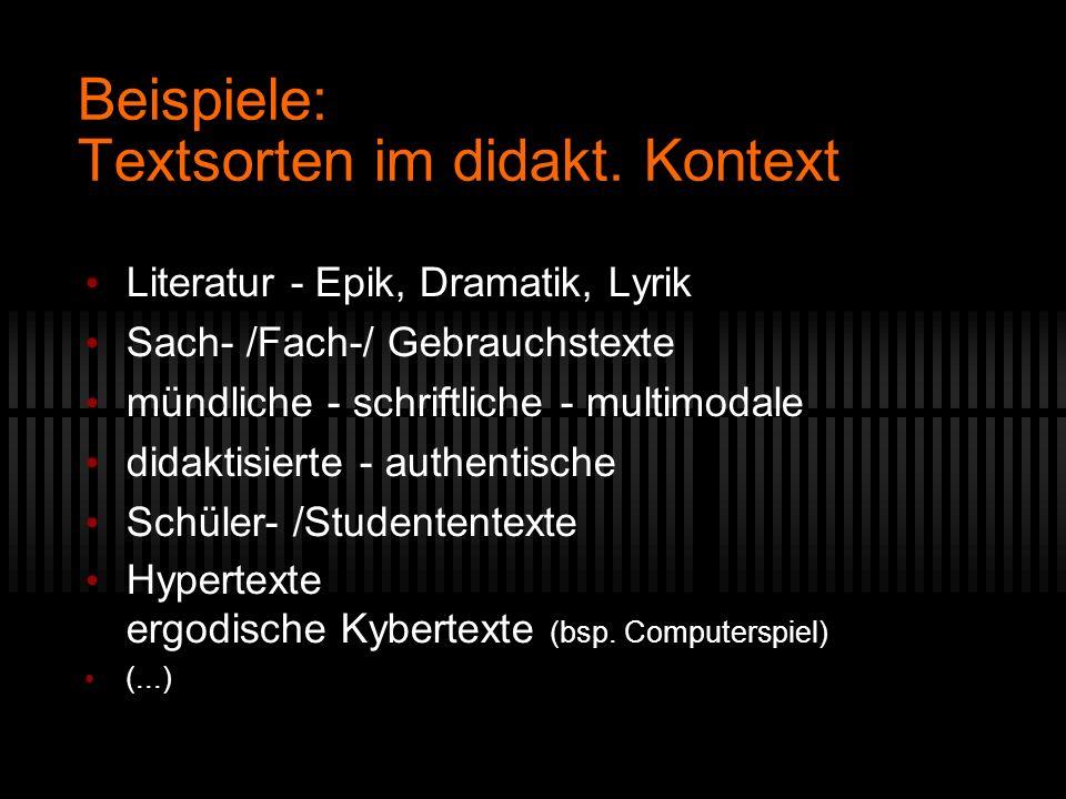 Beispiele: Textsorten im didakt. Kontext