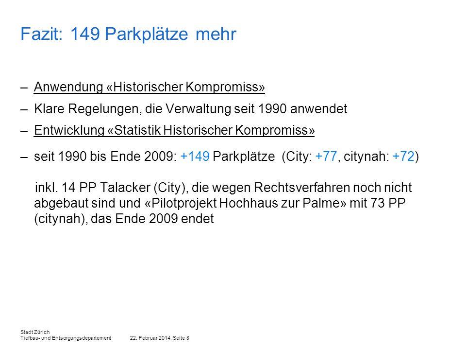 Fazit: 149 Parkplätze mehr