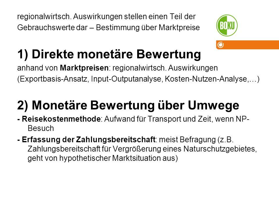 1) Direkte monetäre Bewertung