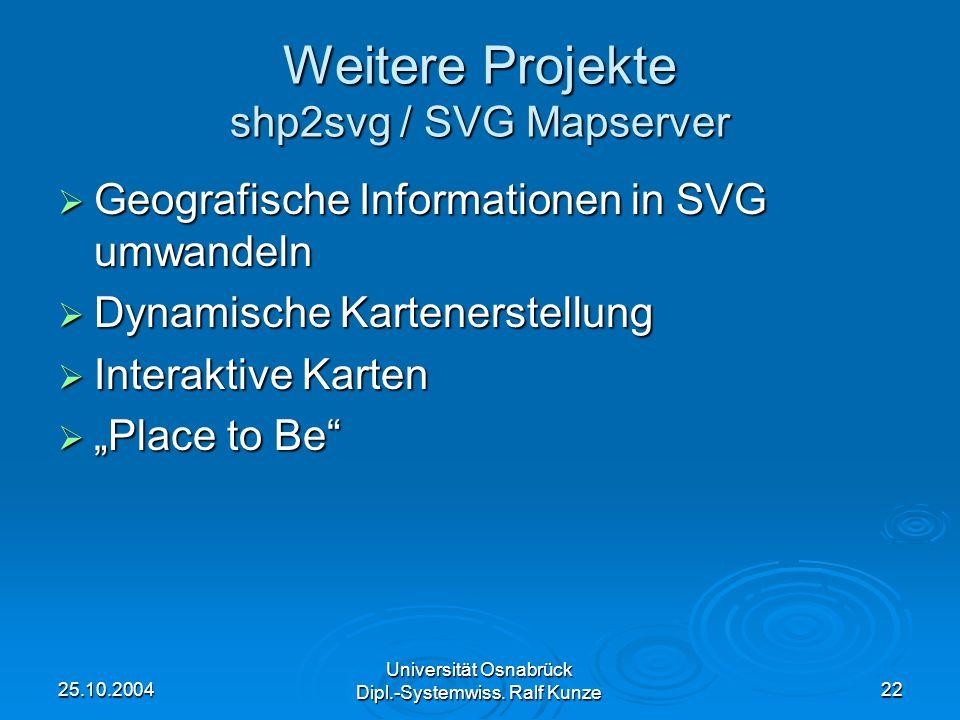 Weitere Projekte shp2svg / SVG Mapserver