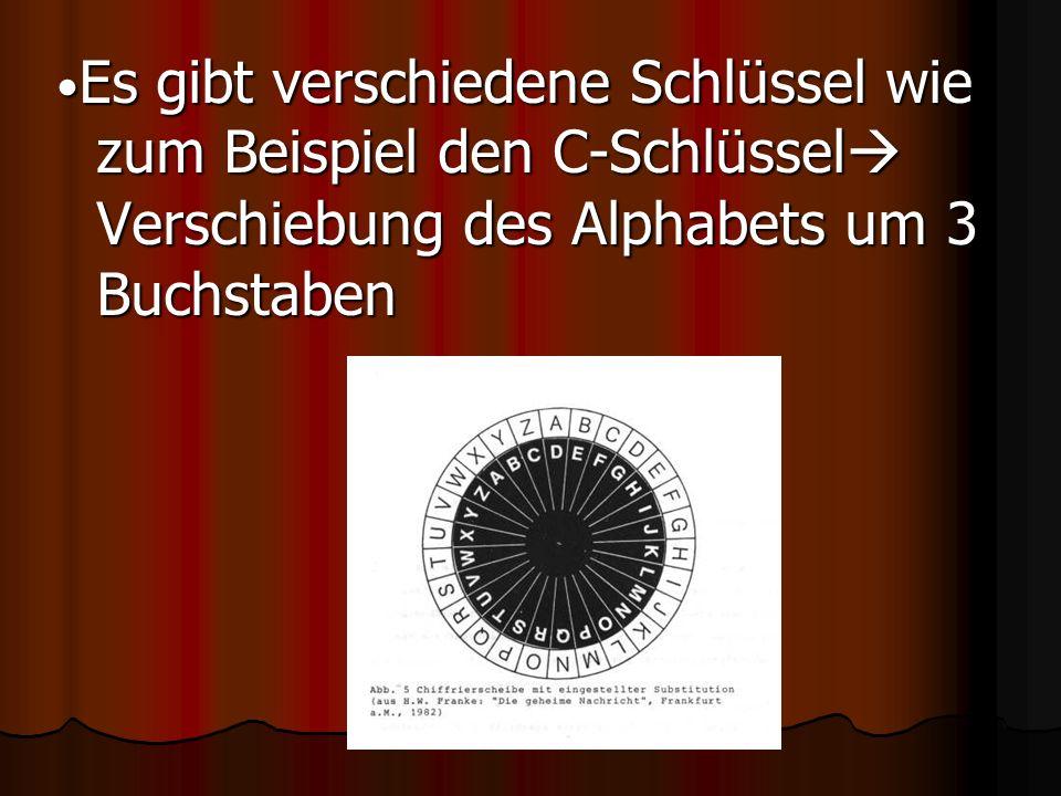 •Es gibt verschiedene Schlüssel wie zum Beispiel den C-Schlüssel Verschiebung des Alphabets um 3 Buchstaben