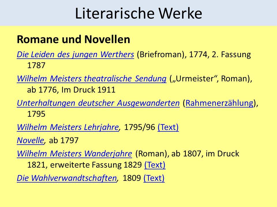 Literarische Werke Romane und Novellen