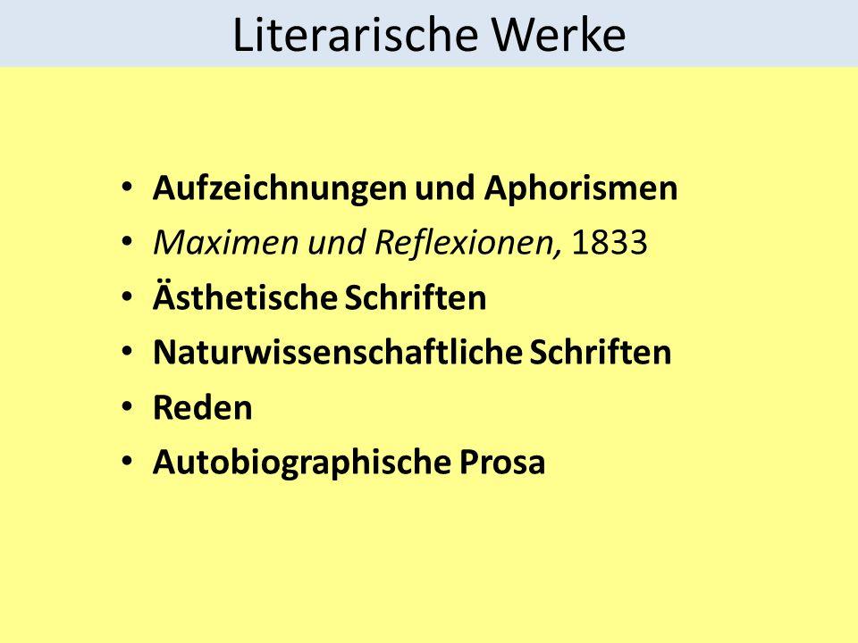 Literarische Werke Aufzeichnungen und Aphorismen