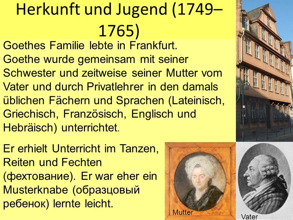Herkunft und Jugend (1749–1765)