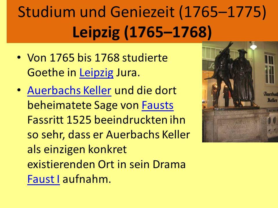 Studium und Geniezeit (1765–1775) Leipzig (1765–1768)