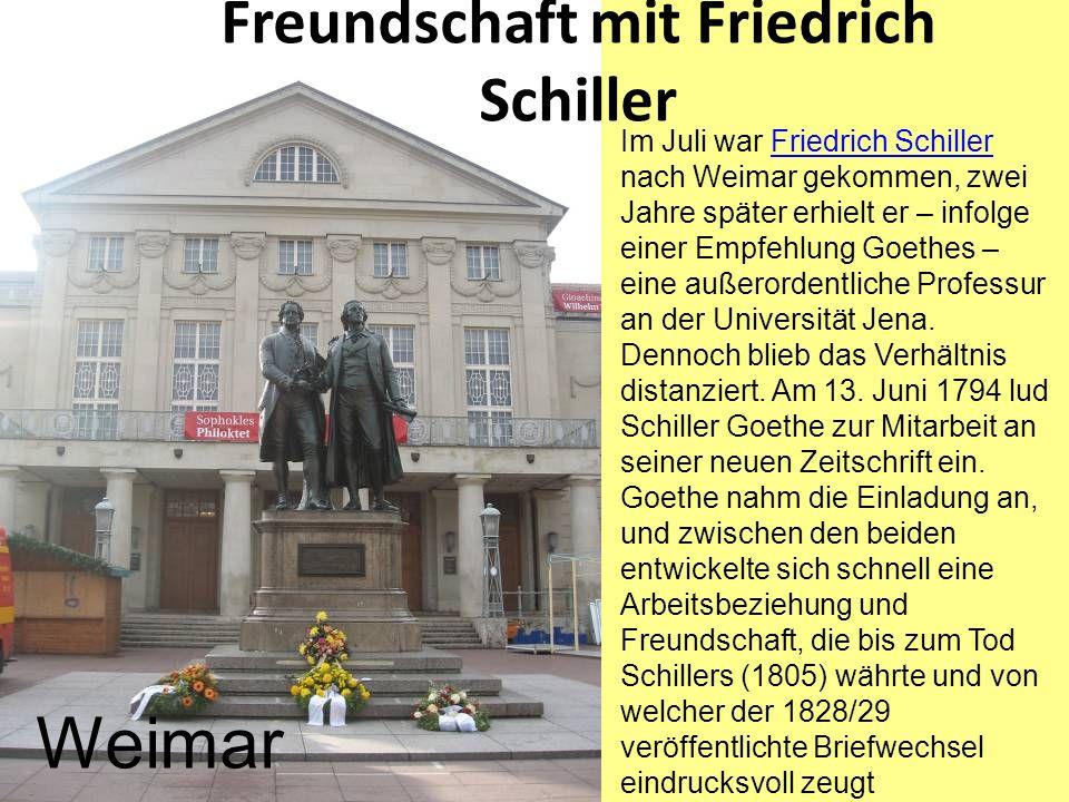 Freundschaft mit Friedrich Schiller