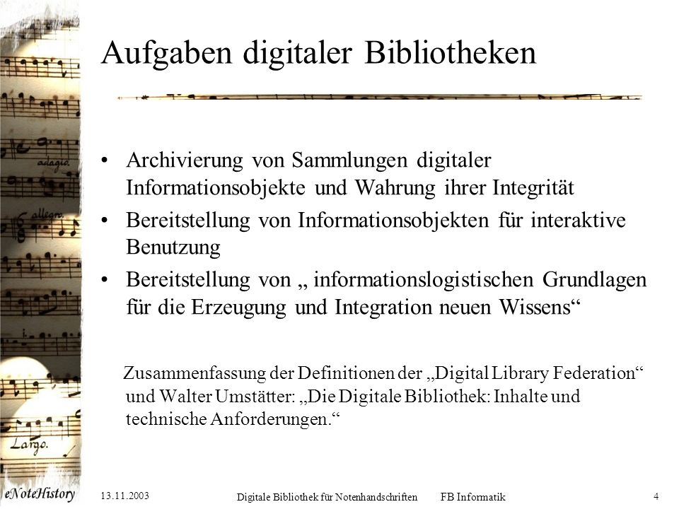 Aufgaben digitaler Bibliotheken