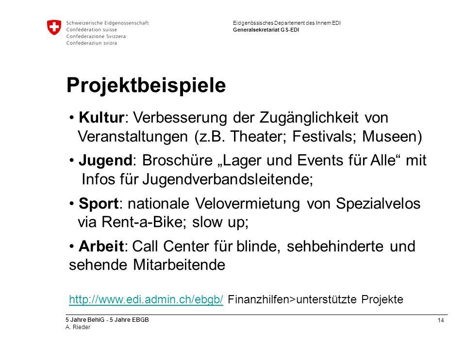 Projektbeispiele Kultur: Verbesserung der Zugänglichkeit von Veranstaltungen (z.B. Theater; Festivals; Museen)