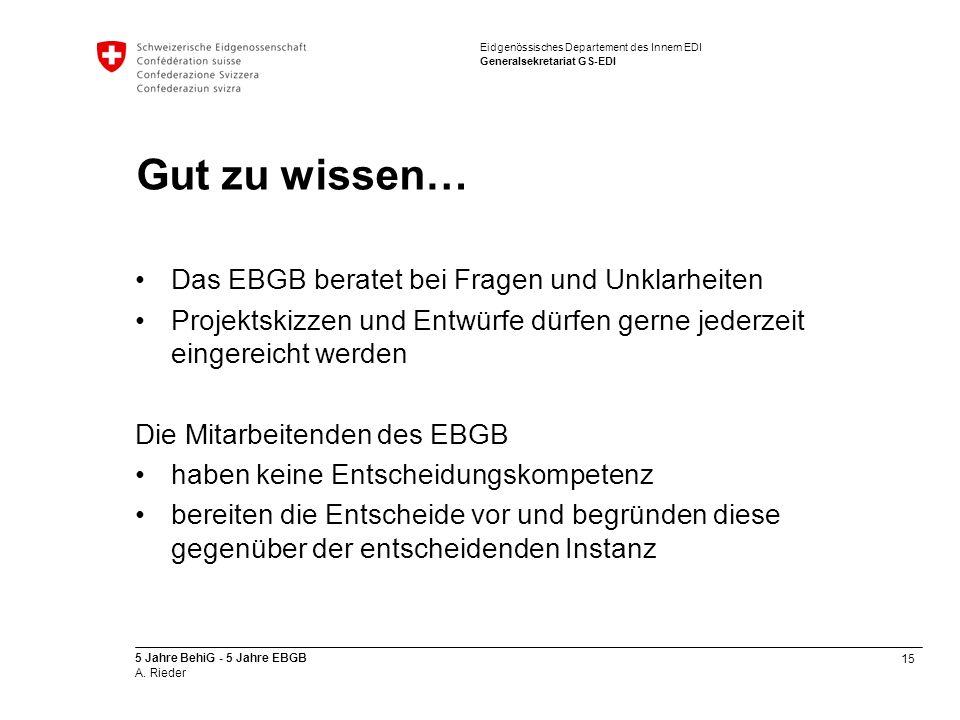 Gut zu wissen… Das EBGB beratet bei Fragen und Unklarheiten