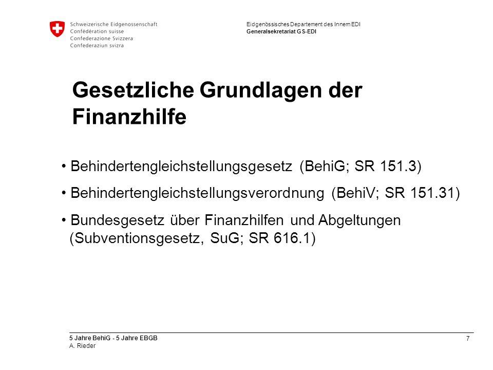 Gesetzliche Grundlagen der Finanzhilfe