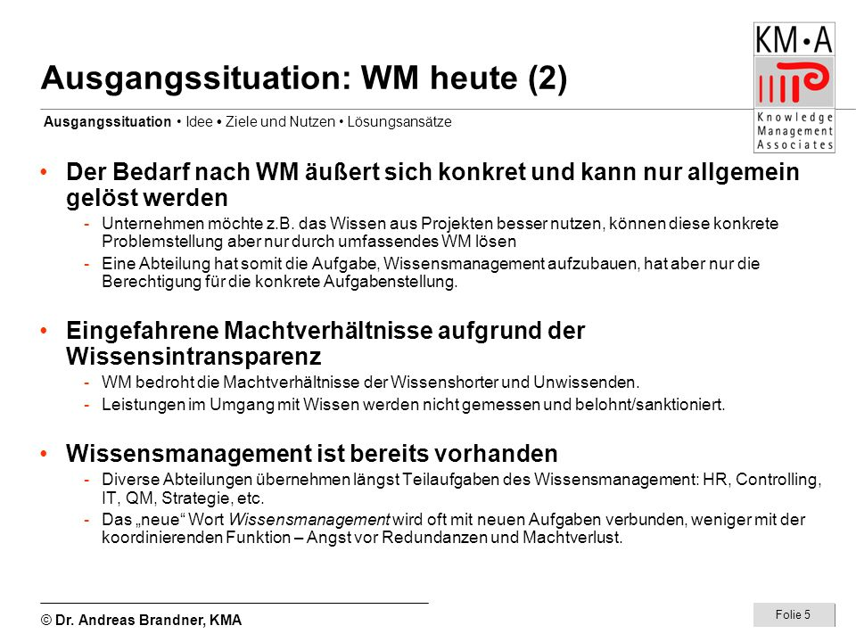 Ausgangssituation: WM heute (2)