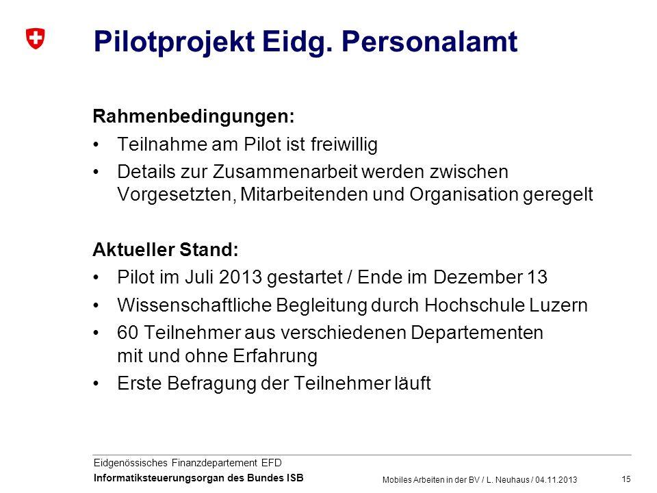 Pilotprojekt Eidg. Personalamt