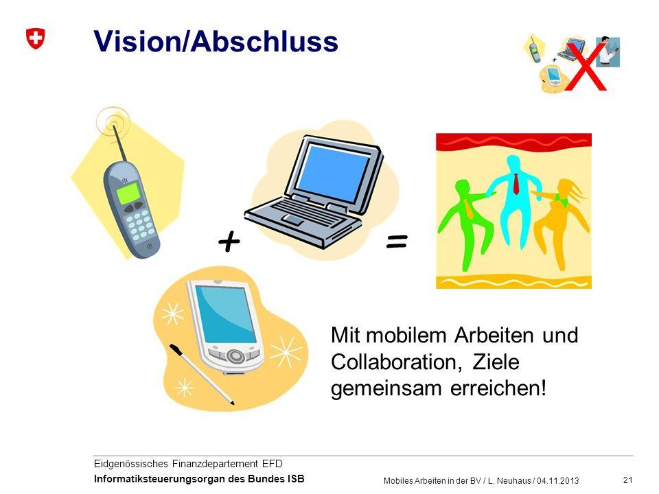 Vision/Abschluss X. + = Mit mobilem Arbeiten und Collaboration, Ziele gemeinsam erreichen.