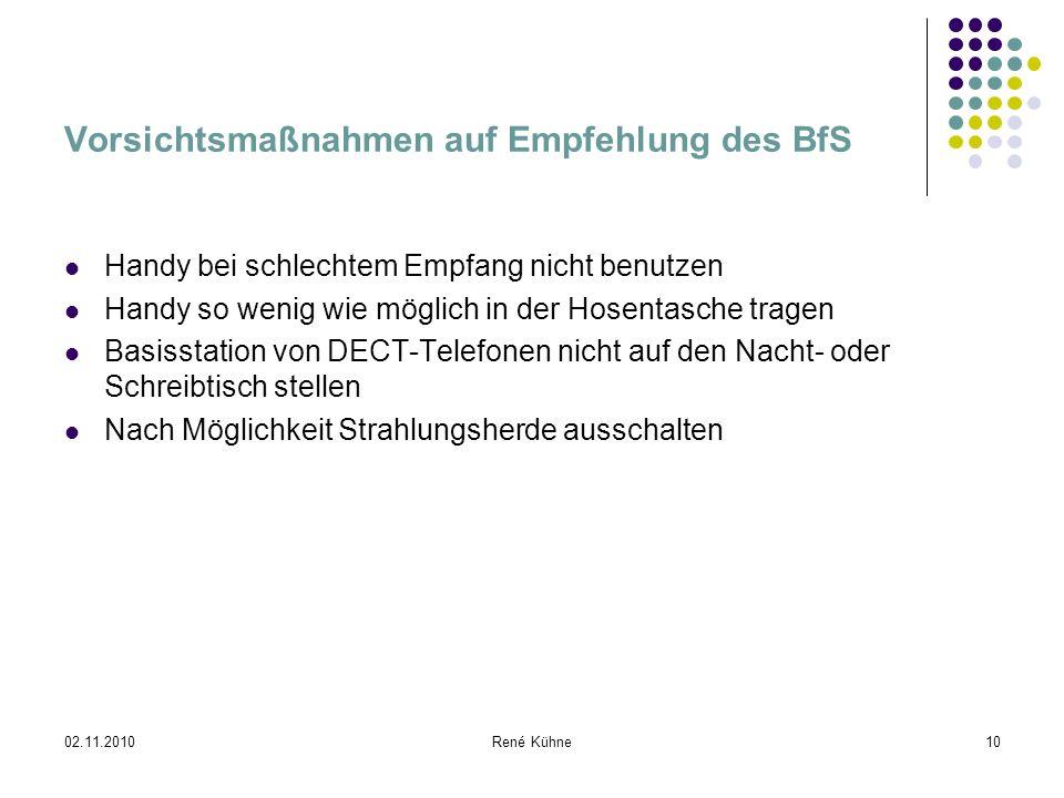 Vorsichtsmaßnahmen auf Empfehlung des BfS