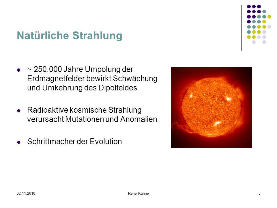 Natürliche Strahlung ~ 250.000 Jahre Umpolung der Erdmagnetfelder bewirkt Schwächung und Umkehrung des Dipolfeldes.