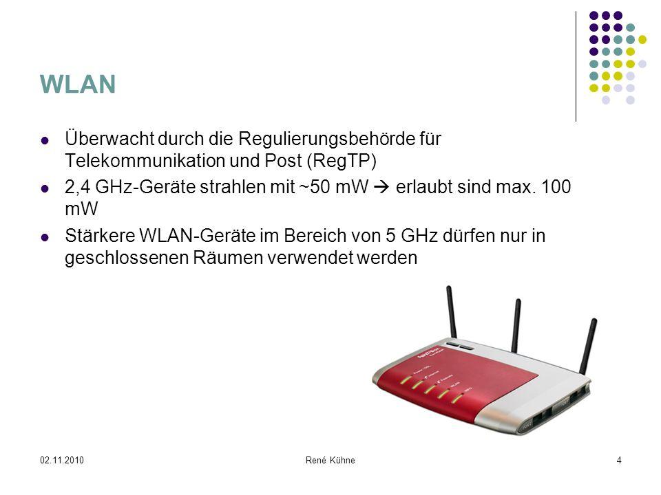 WLAN Überwacht durch die Regulierungsbehörde für Telekommunikation und Post (RegTP) 2,4 GHz-Geräte strahlen mit ~50 mW  erlaubt sind max. 100 mW.
