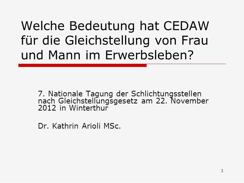 Welche Bedeutung hat CEDAW für die Gleichstellung von Frau und Mann im Erwerbsleben