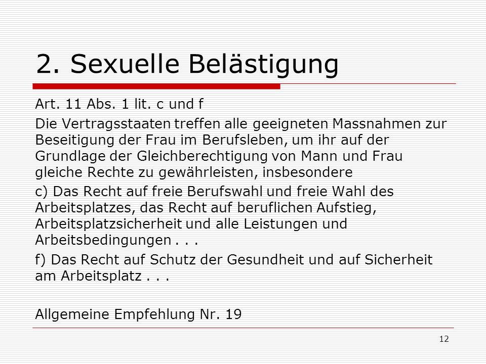 2. Sexuelle Belästigung