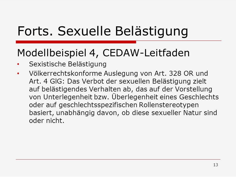 Forts. Sexuelle Belästigung