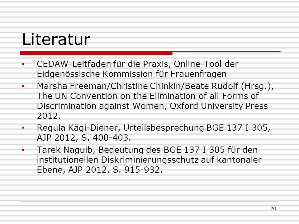 Literatur CEDAW-Leitfaden für die Praxis, Online-Tool der Eidgenössische Kommission für Frauenfragen.