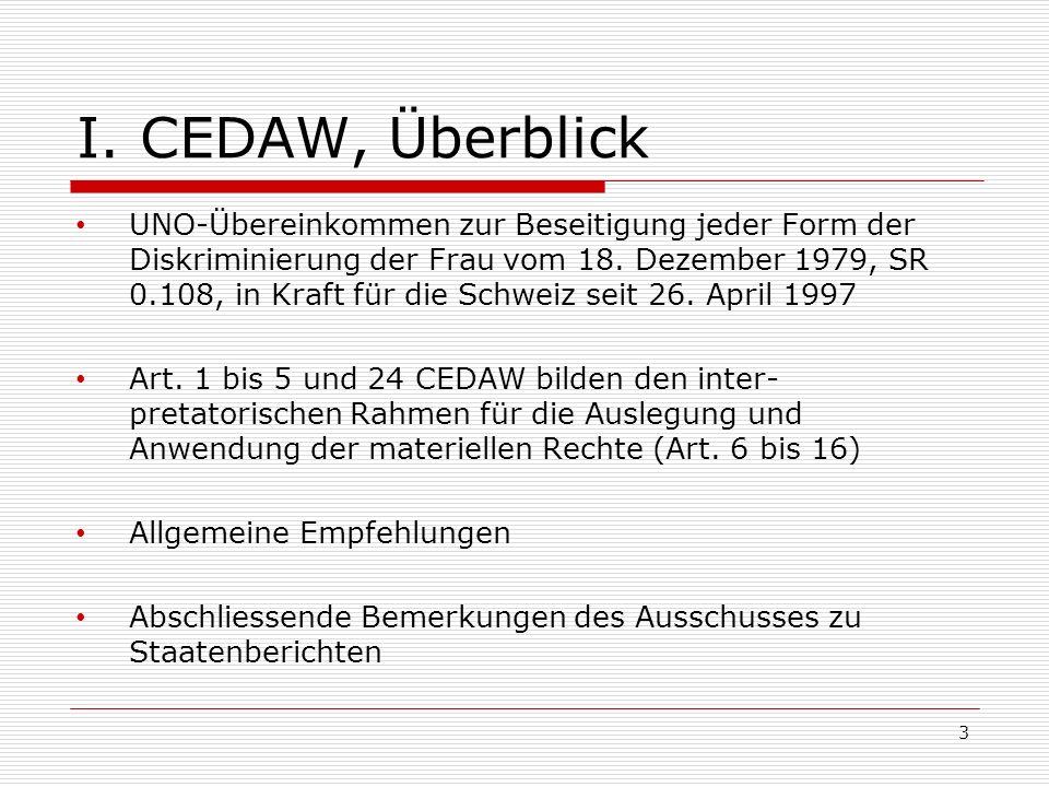I. CEDAW, Überblick