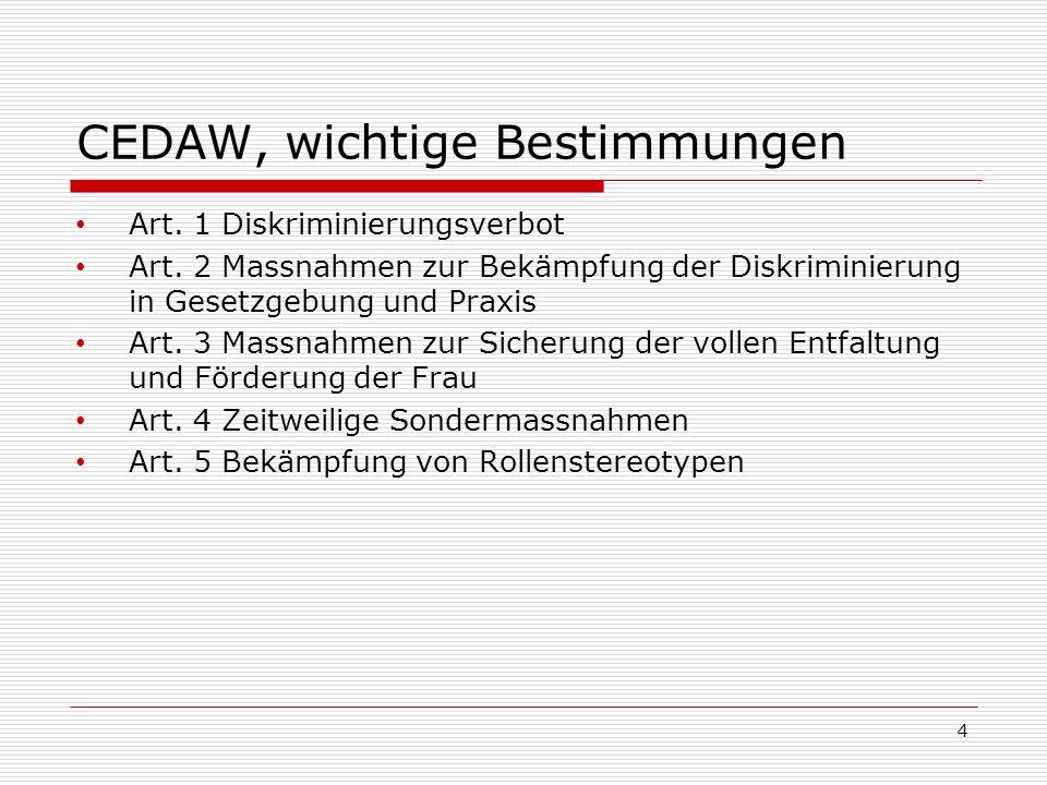 CEDAW, wichtige Bestimmungen