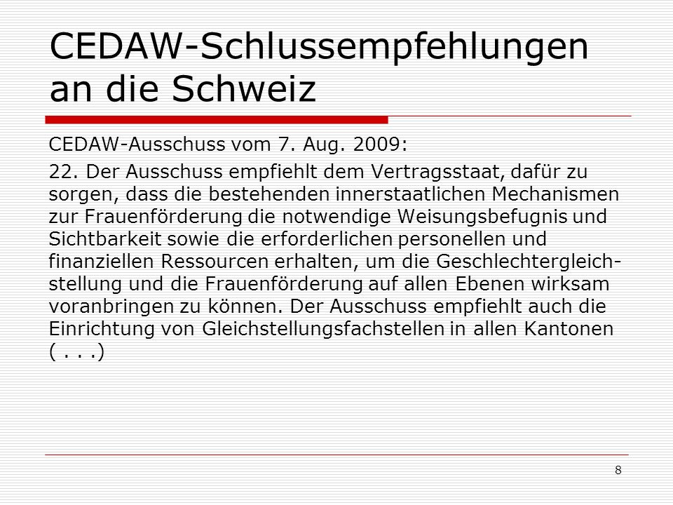CEDAW-Schlussempfehlungen an die Schweiz