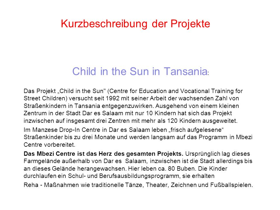 Kurzbeschreibung der Projekte
