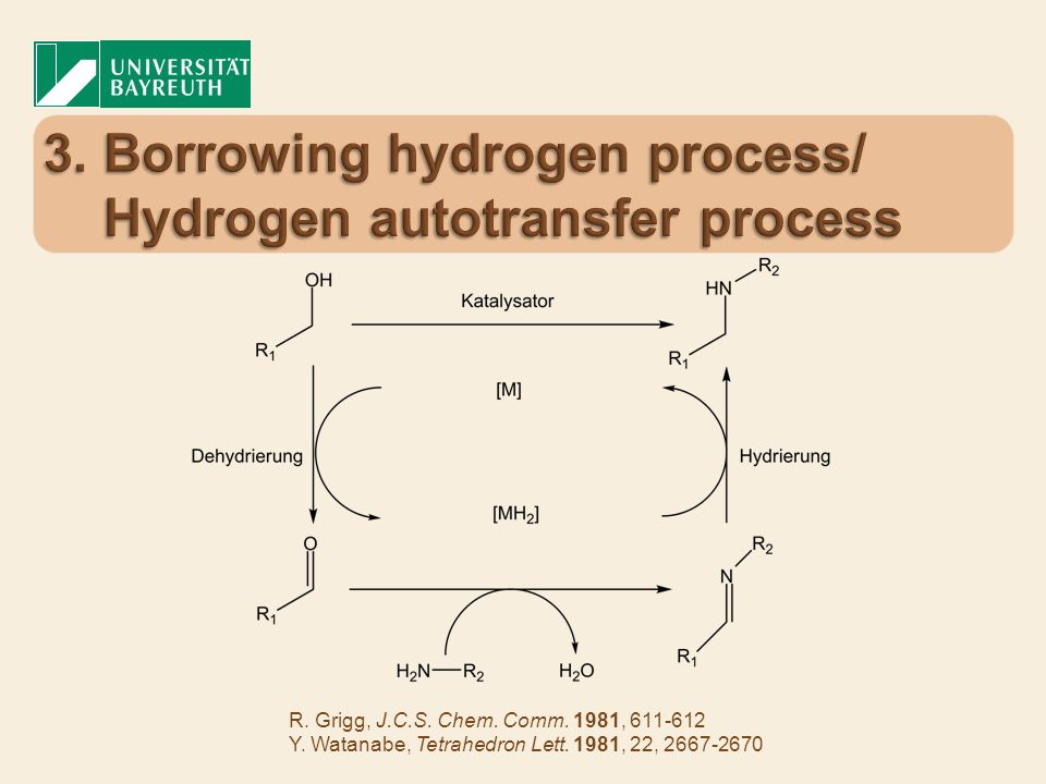 3. Borrowing hydrogen process/ Hydrogen autotransfer process