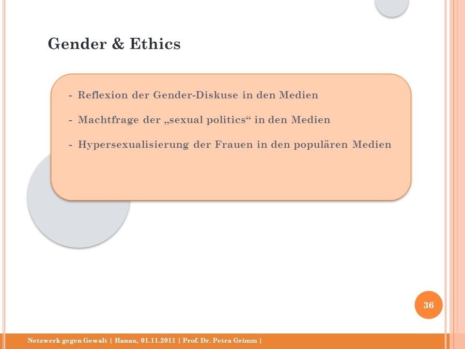 Gender & Ethics - Reflexion der Gender-Diskuse in den Medien