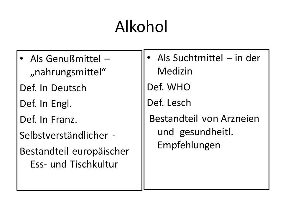 """Alkohol Als Genußmittel – """"nahrungsmittel"""
