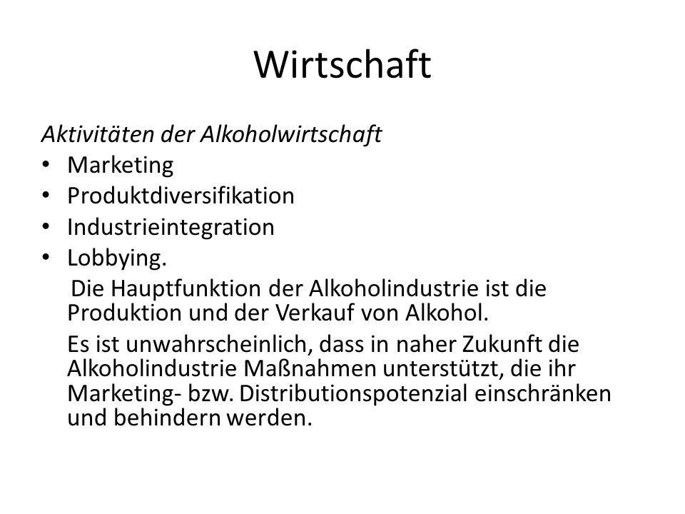 Wirtschaft Aktivitäten der Alkoholwirtschaft Marketing