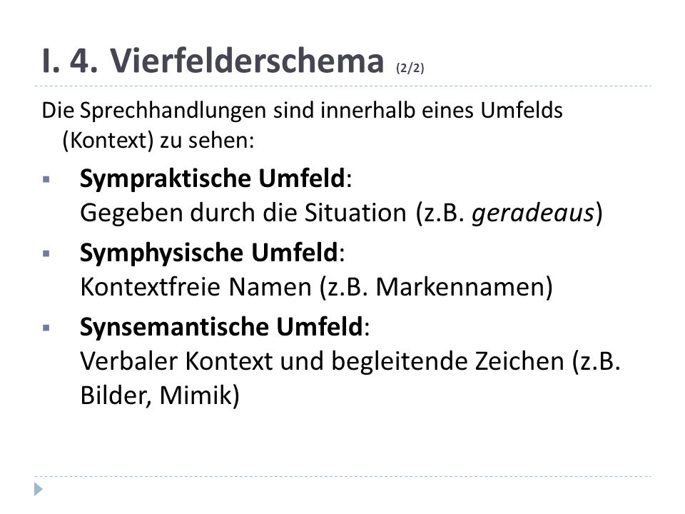 I. 4. Vierfelderschema (2/2)