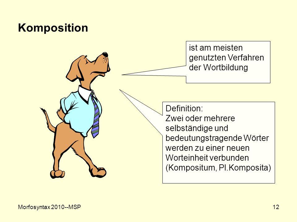 Komposition ist am meisten genutzten Verfahren der Wortbildung
