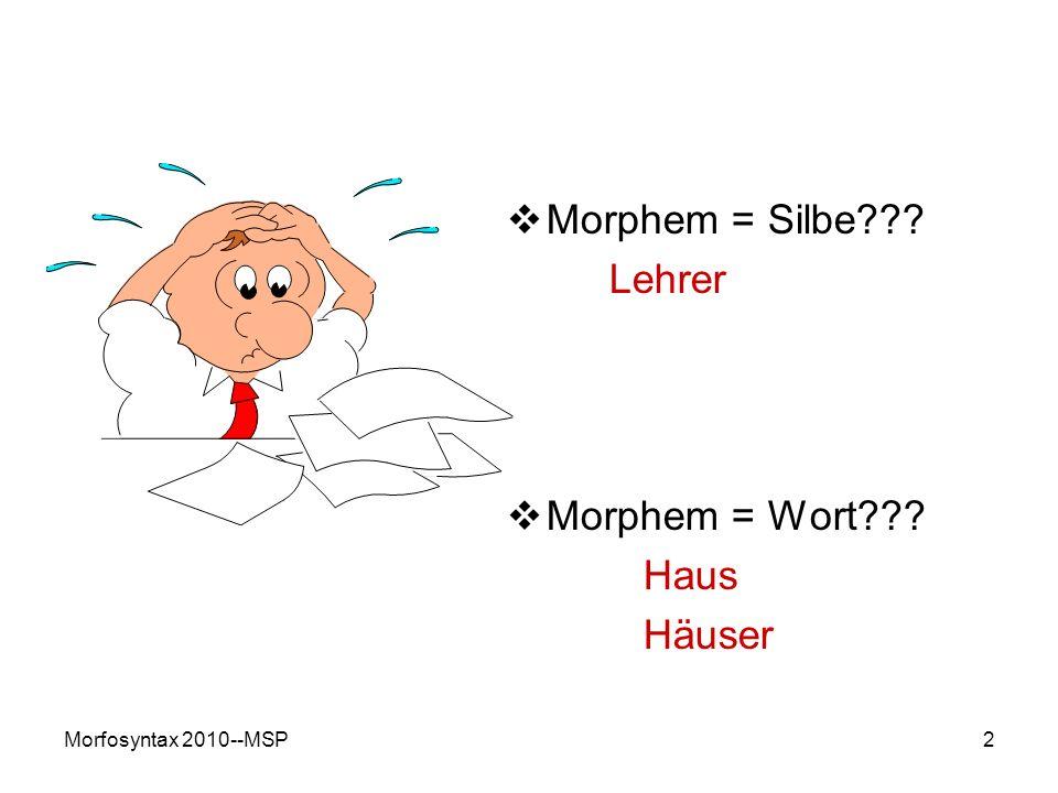 Morphem = Silbe Lehrer Morphem = Wort Haus Häuser