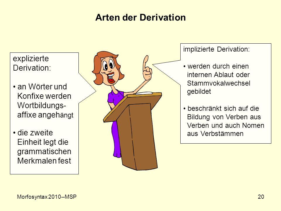 Arten der Derivation explizierte Derivation: an Wörter und