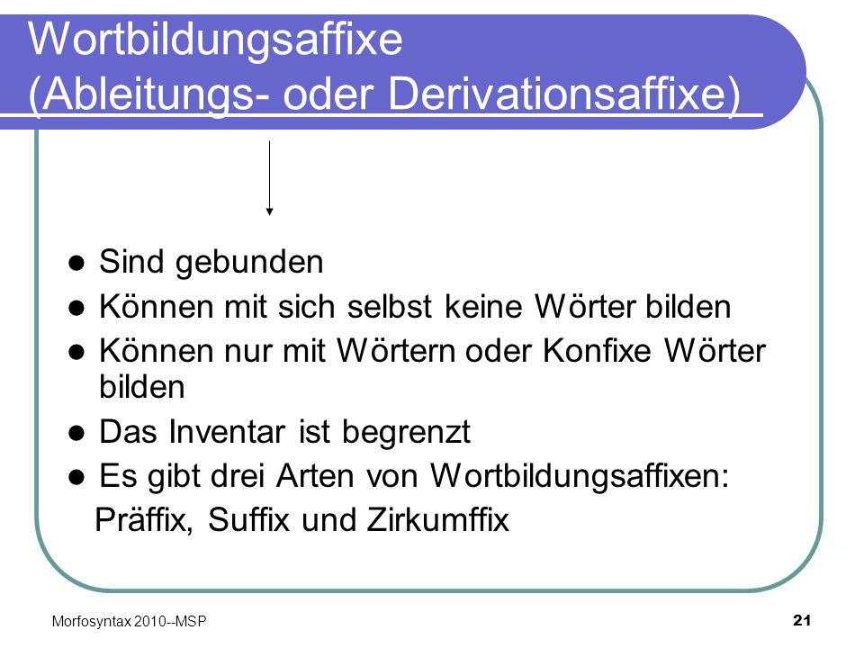 Wortbildungsaffixe (Ableitungs- oder Derivationsaffixe)