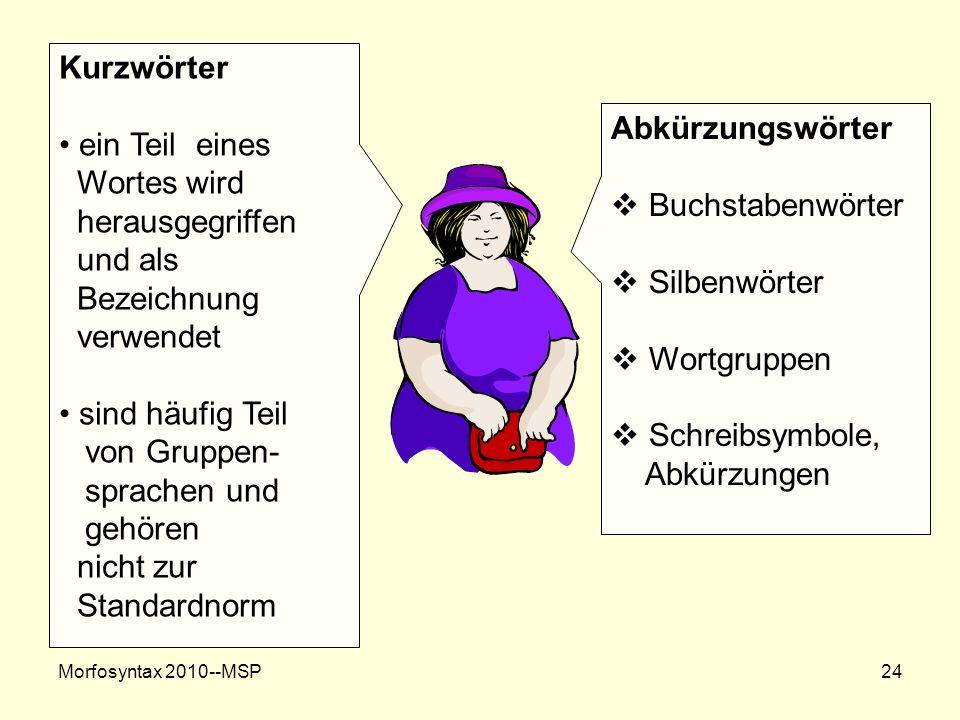 Kurzwörter ein Teil eines Wortes wird Abkürzungswörter herausgegriffen