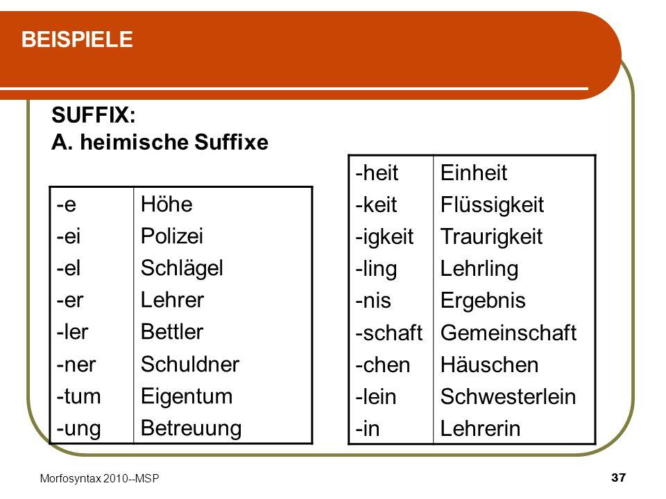 BEISPIELE SUFFIX: A. heimische Suffixe -heit -keit -igkeit -ling -nis