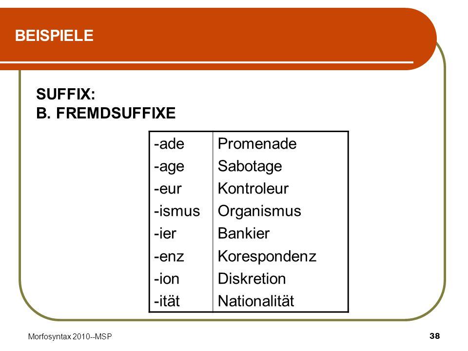 BEISPIELE SUFFIX: B. FREMDSUFFIXE -ade -age -eur -ismus -ier -enz -ion